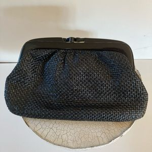 VTG Italian Black Woven Lucite Clutch Bag.